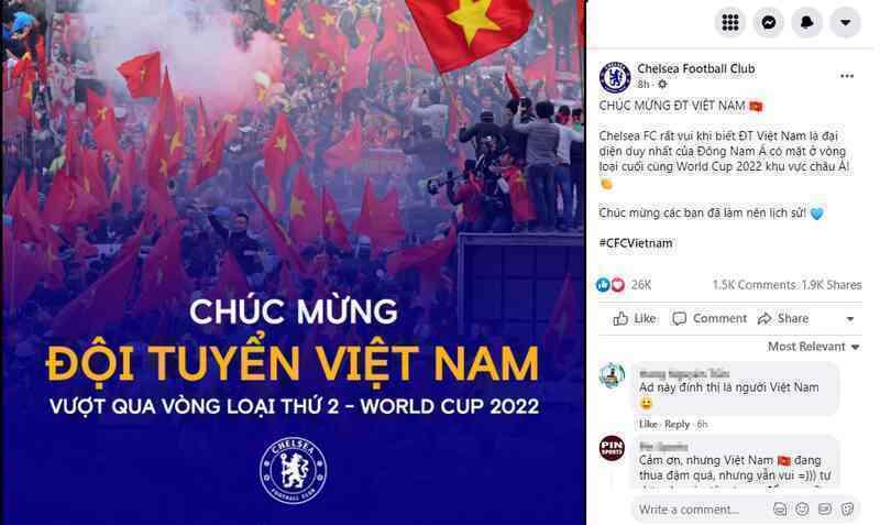 Fanpage Chelsea chúc mừng Việt Nam vào vòng loại cuối của World Cup 2022