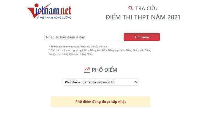Hướng dẫn tra cứu điểm thi THPT 2021